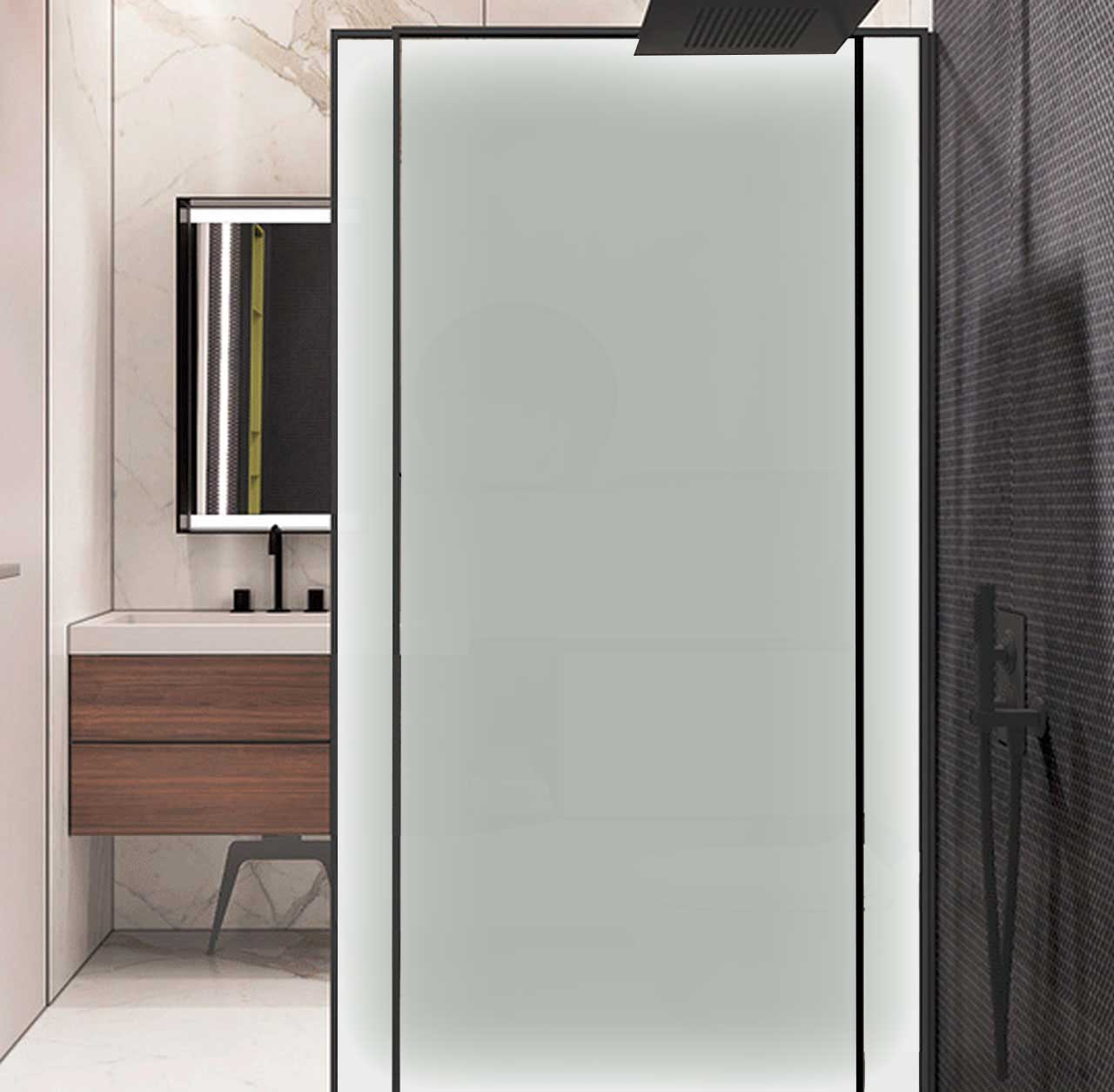 Shower Door with Privacy Glass Window